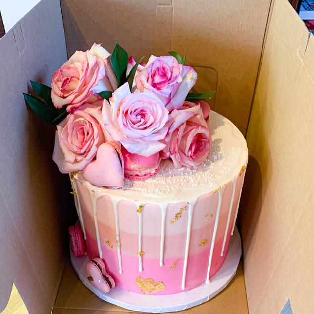 Pink Floral Birthday Cake