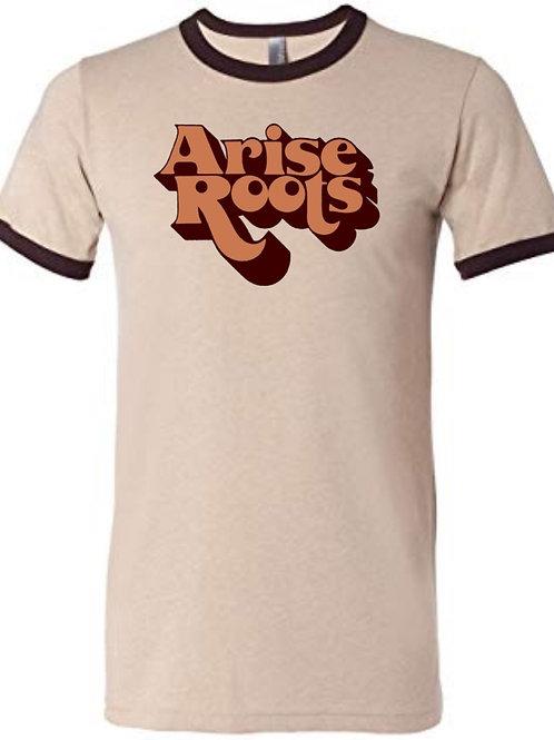 Men's Tee shirt 70's old school - Brown Ringer