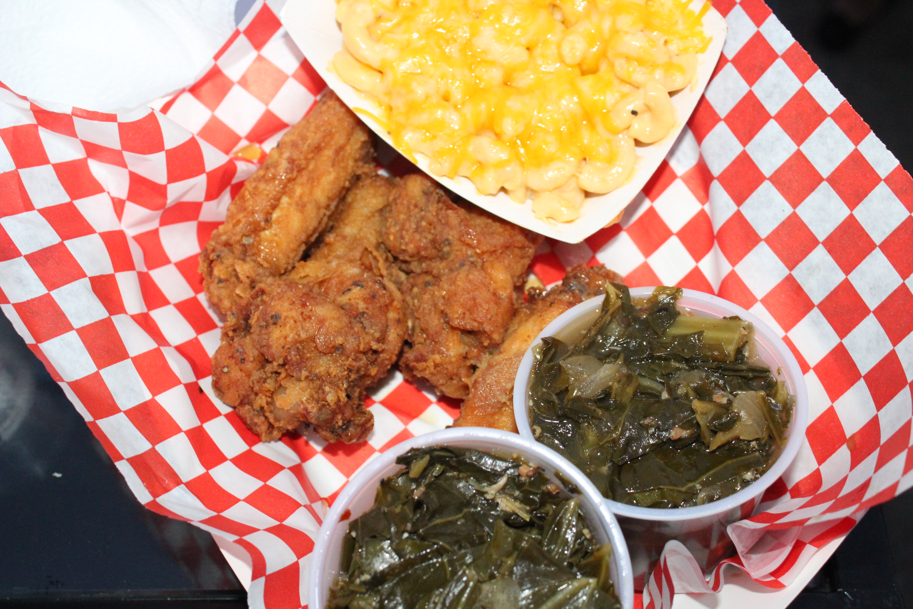 Wings, Collard Greens & Mac N' Chees