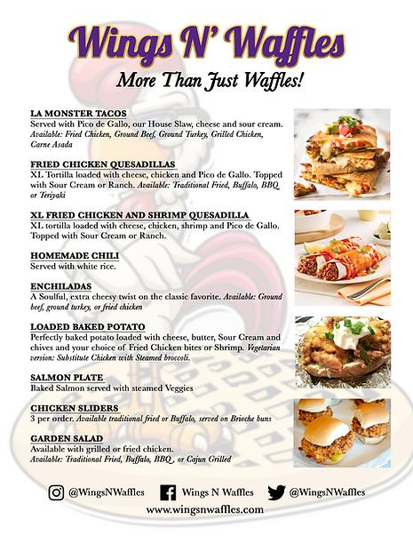 """Wings N' Waffles ...On Wheels! """"More Than Just Waffles"""" Catering Menu"""