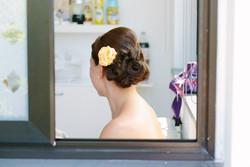 fresh florals for wedding dayhair up