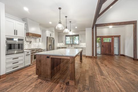 Transitional Kitchen Quartz and Tile