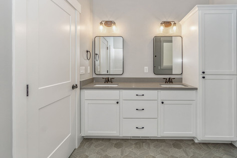 Enameled White Trim and Cabinets