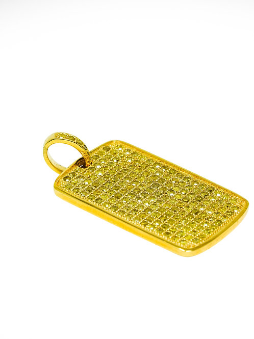 10 KT ICED OUT DOG TAG YELLOW DIAMONDS