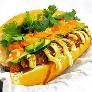 japanese chicken katsu banh mi sandwich