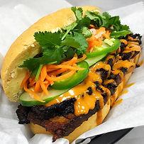 spicy asian bbq brisket banh mi sandwich