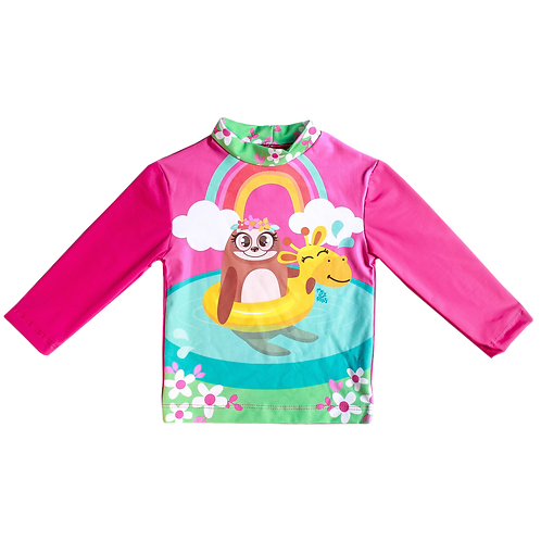 Camisa UV50+ Preguiça Rosa