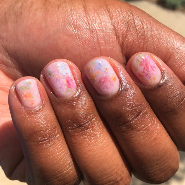 Milky Floral Gel Manicure
