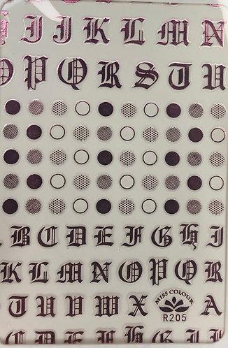 Old English Lettering (Pink Metallic)