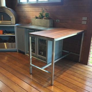 Custom Bar Table in Stainless & Jarrah