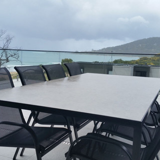 Stainless & Stone Balcony Table