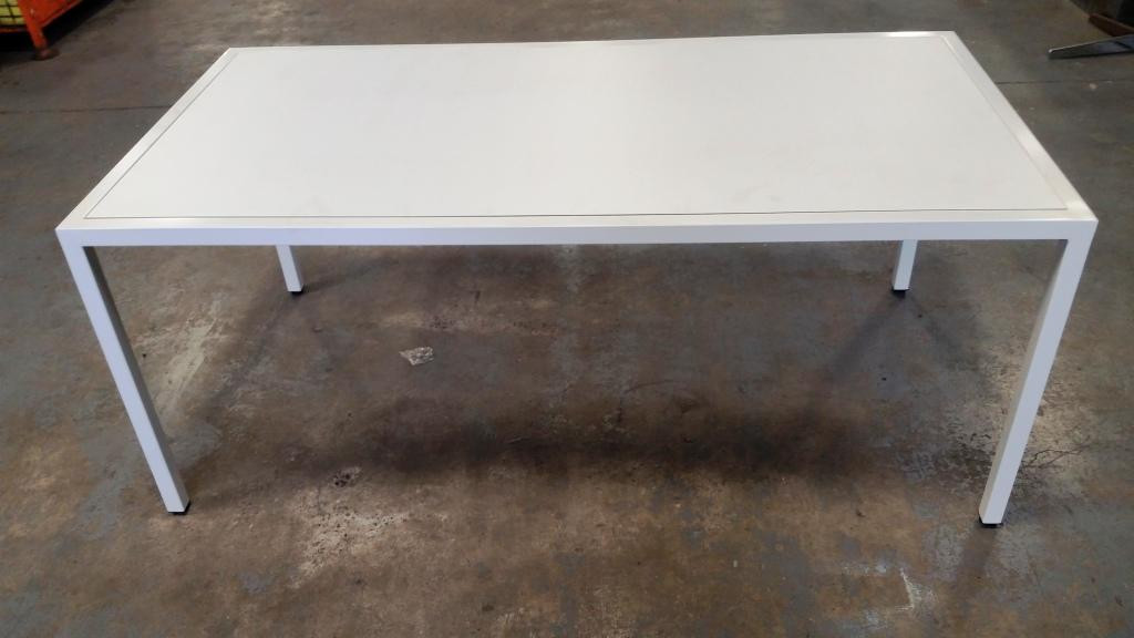White Powdercoat & Compact Laminate Table. 1800 x 900 - $825.00.