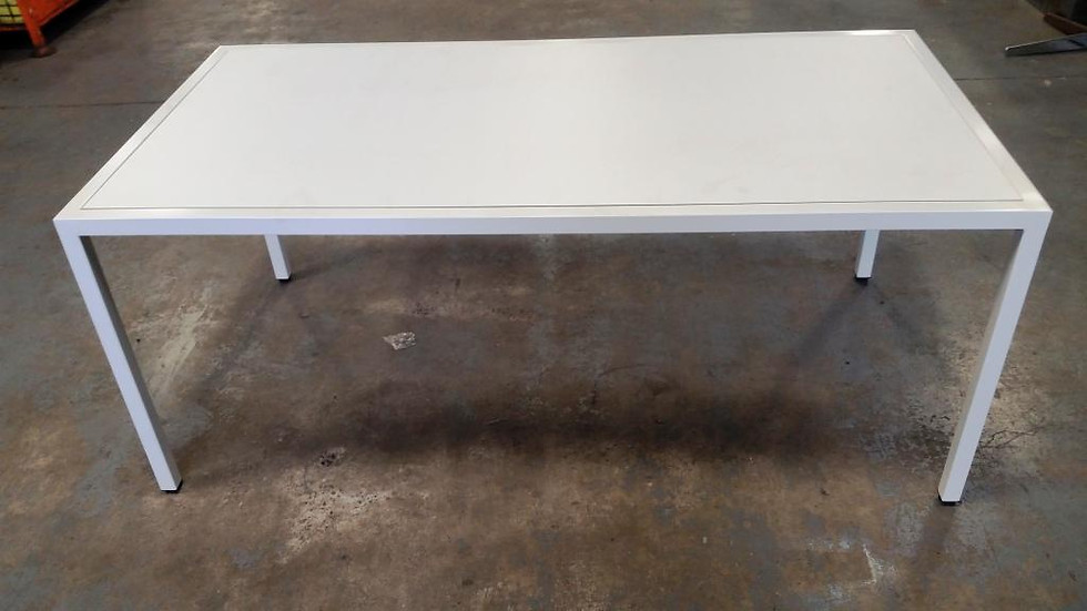 White Powdercoat & Compact Laminate Table. 1800 x 900 - $825.00.