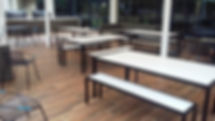 Outdoor Furniture Melbourne, Outdoor Bar Furniture, Live Life Outdoors, Outdoor Table Creations, Outdoor Tables, Hospitality Tables, Compact Laminate Outdoor Table, Outdoor Tables Melbourne