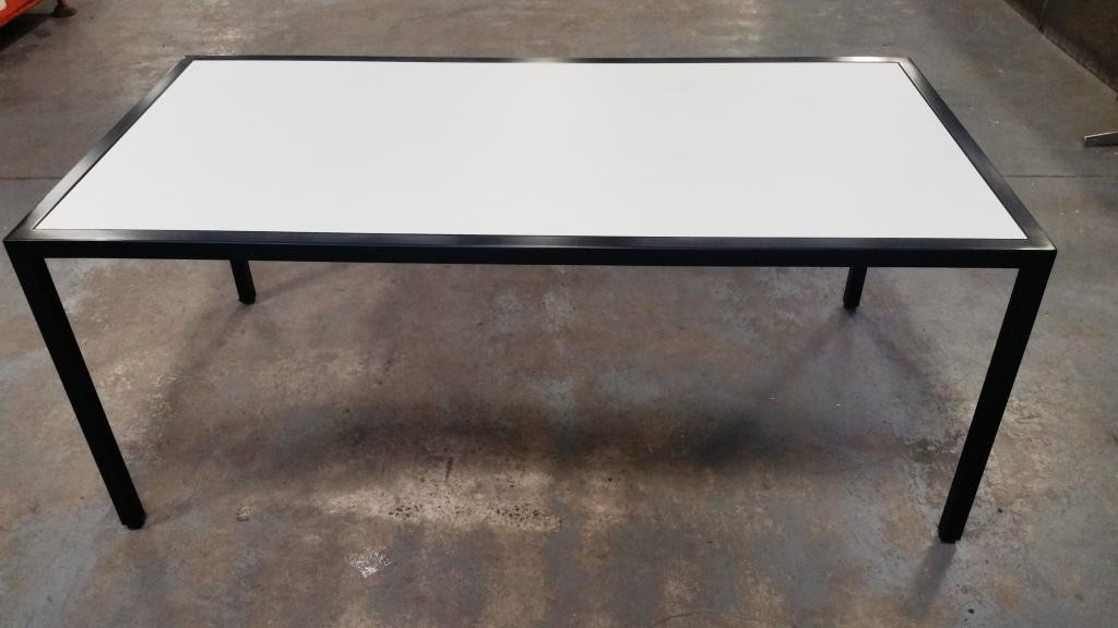 Black Powdercoat and White Compact Laminate Table. 1800 x 900 - $825.00