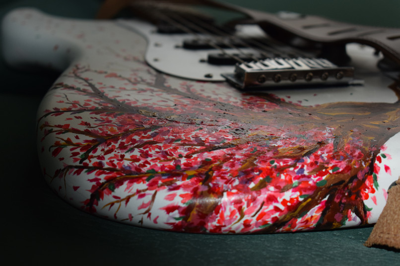 Cherry blossom guitar - detail
