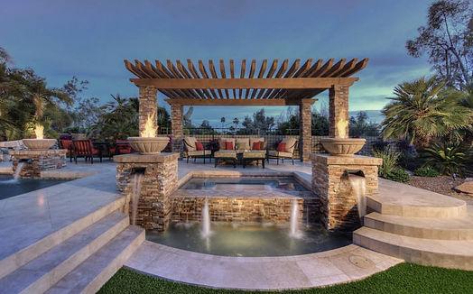 Custom Pergola Outdoor Furniture in casual luxury patio home