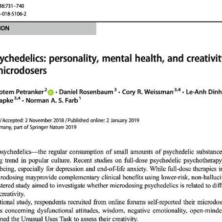 Microdosing psychedelics: personality, mental health, and creativity differences in microdosers