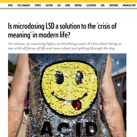 Is microdosing LSD a solution to the 'crisis of meaning' in modern life?