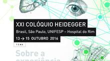 (Programa) XXI Colóquio Heidegger Brasil, São Paulo, UNIFESP – Hospital do Rim 13 a 15 de Outubro de