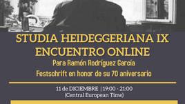 Presentación de STUDIA HEIDEGGERIANA IX - Festschrift para Ramón Rodríguez
