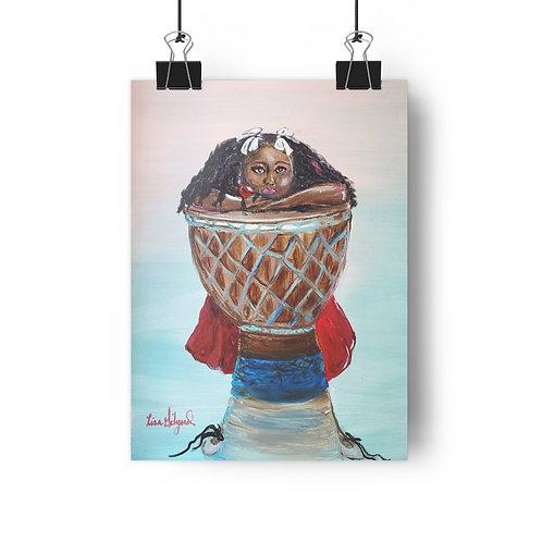 Jazzy Drummer  Girl Giclée Art Print