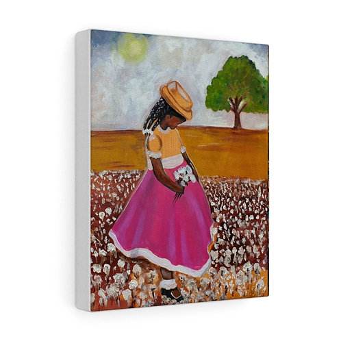Girl cotton field Canvas Gallery Wraps