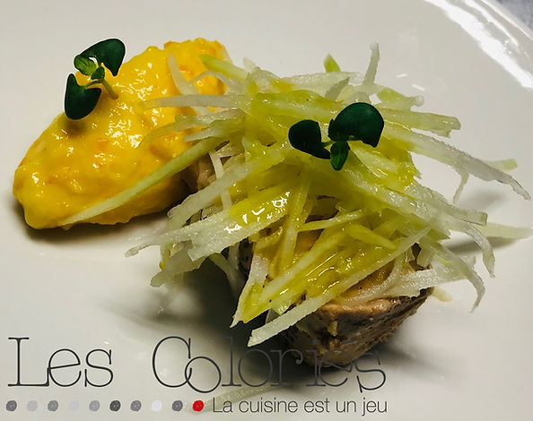 Foie gras maison/ chou rave/ orange curd