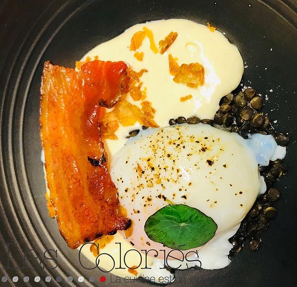 Oeuf 63/ oignons doux/ lentille beluga/ Li Vi Cinsy