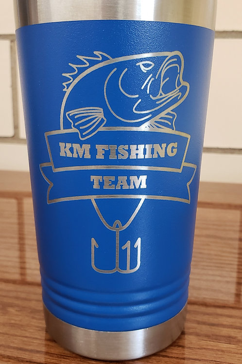 16 oz Stainless Tumbler with KM Fishing Team Logo and Slider Lid