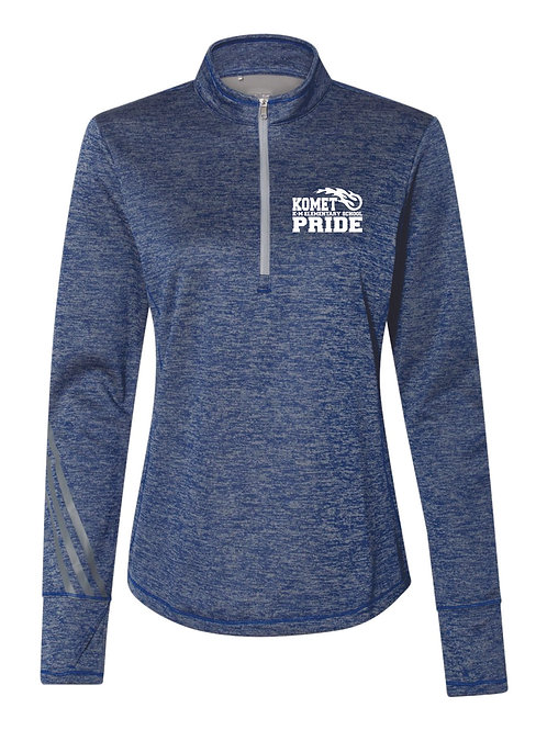 Women's Adidas-Brushed Terry Heathered Quarter-Zip Pullover