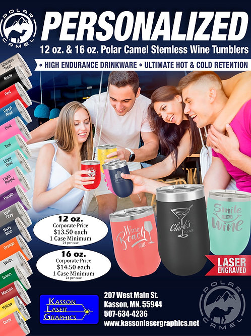 12oz and 16oz Wine Polar Camel Stainless Steel Mugs.