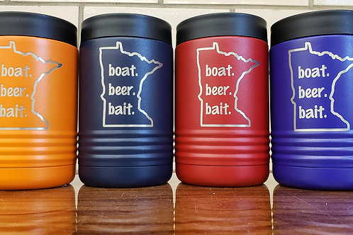 Powder Coated Stainless Steel Can and Bottle Koolie with Minnesota Logo