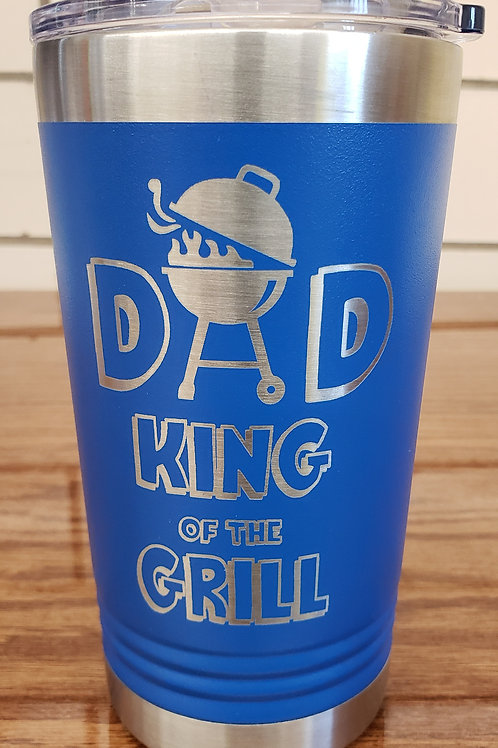 16 oz Stainless Steel Tumbler with Slider Lid and King of the Grill Logo