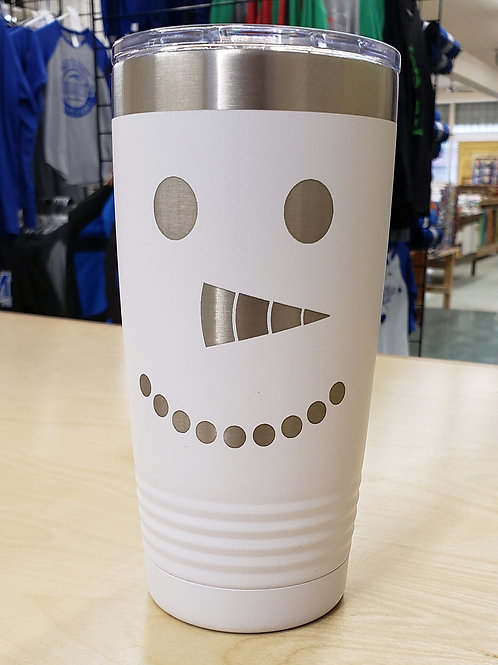 20oz Stainless Tumbler with Snowman Face
