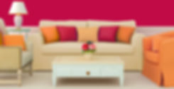 clutter free living room with beige sofa and pink and orange cushions