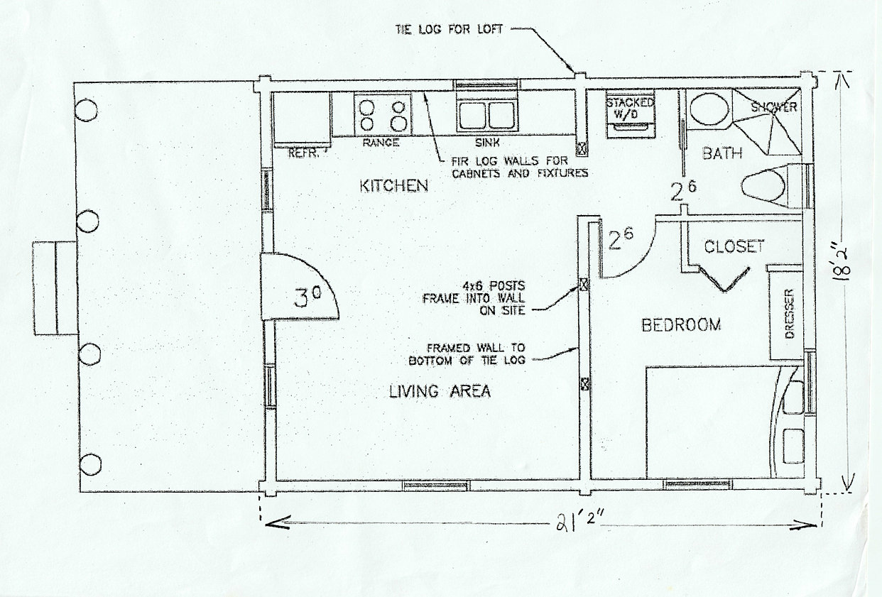dovetail cabin company floor plans 18 x 21 foor plan