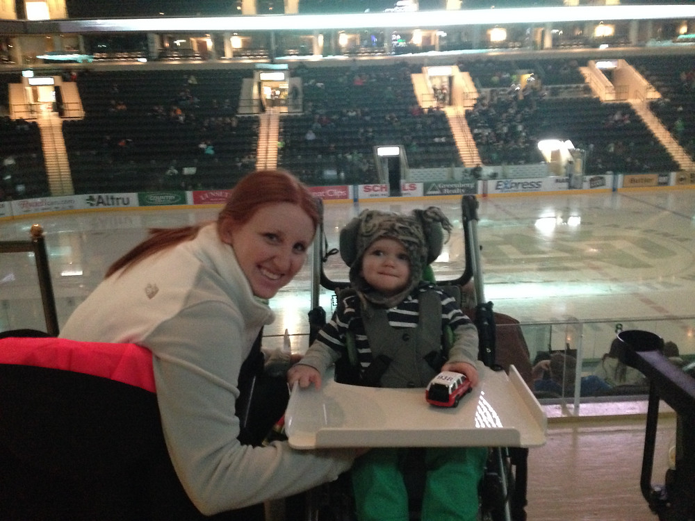 Levi & Mommy at the hockey game