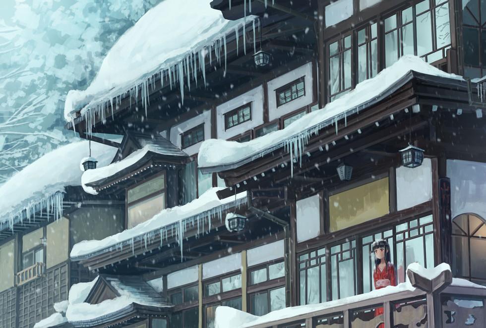 雪の積もった日に