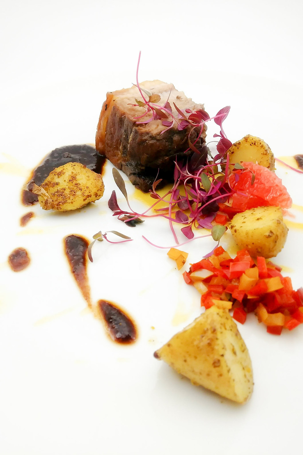 Roasted Leg of Wild Boar with Peppers, Fingerling Potato and Pink Grapefruit. Shef & Somm.