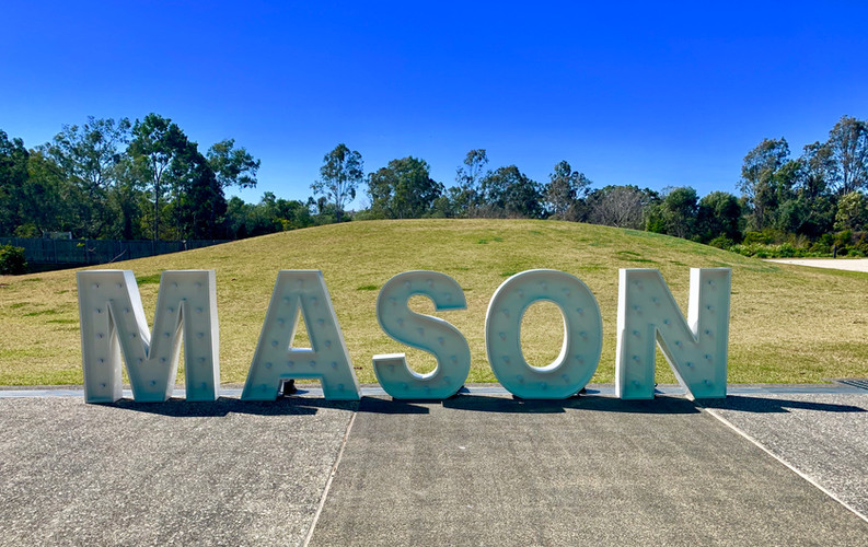 Light up 'MASON' for a birthday party