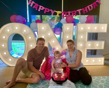 Light up 'ONE' for a first birthday