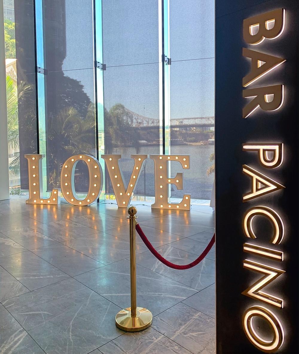 LOVE Light up Letters in Story Bridge Room