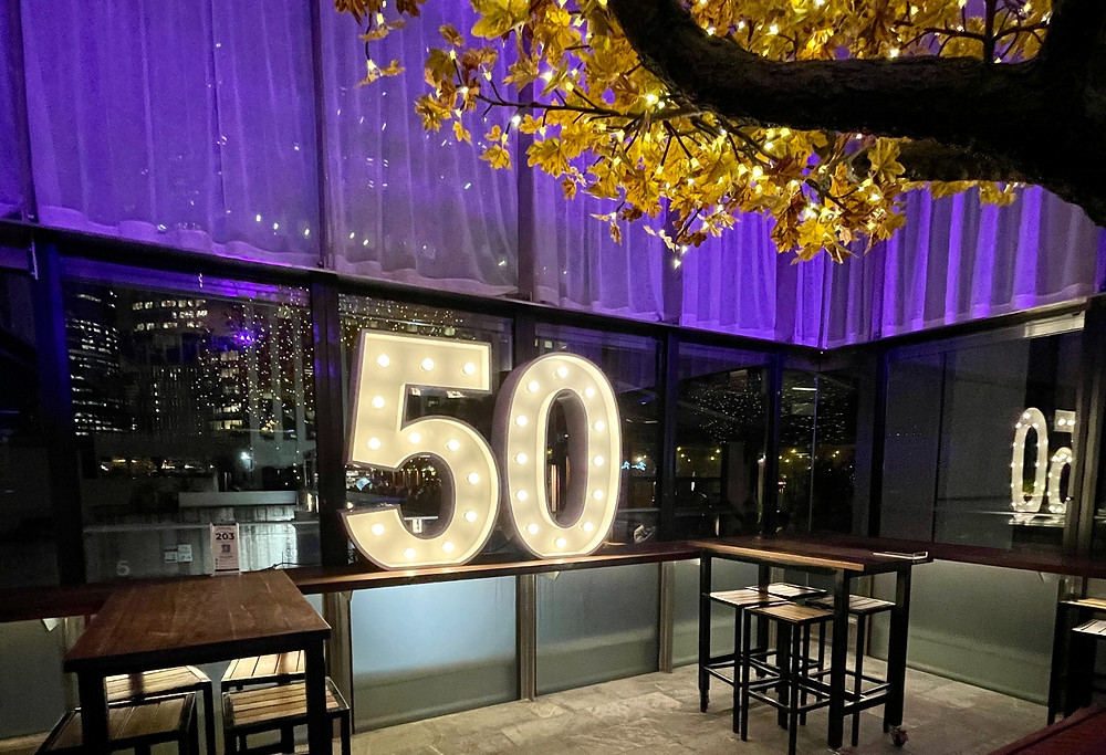 50th Birthday Party in Tree Room at Bar Pacino // 50 1.2m Light up Numbers