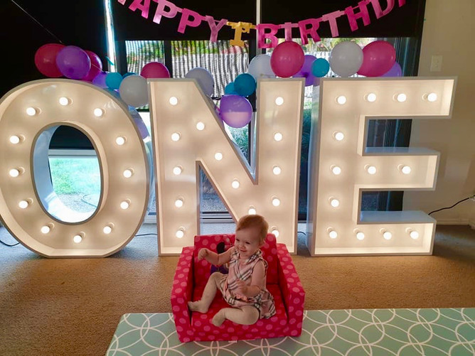 Light up 'ONE' for a first birthday party