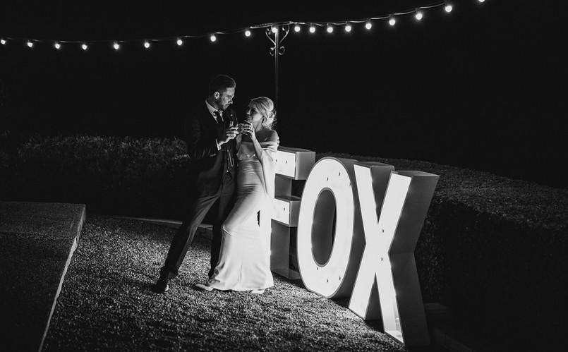 Light up couple surname (photography: Luke Middlemiss Photography https://www.lukemiddlemiss.com/)