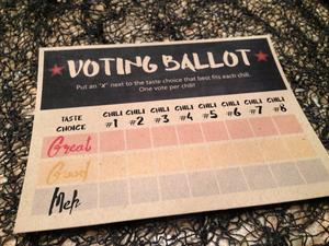 Chili Contest Voting Ballot