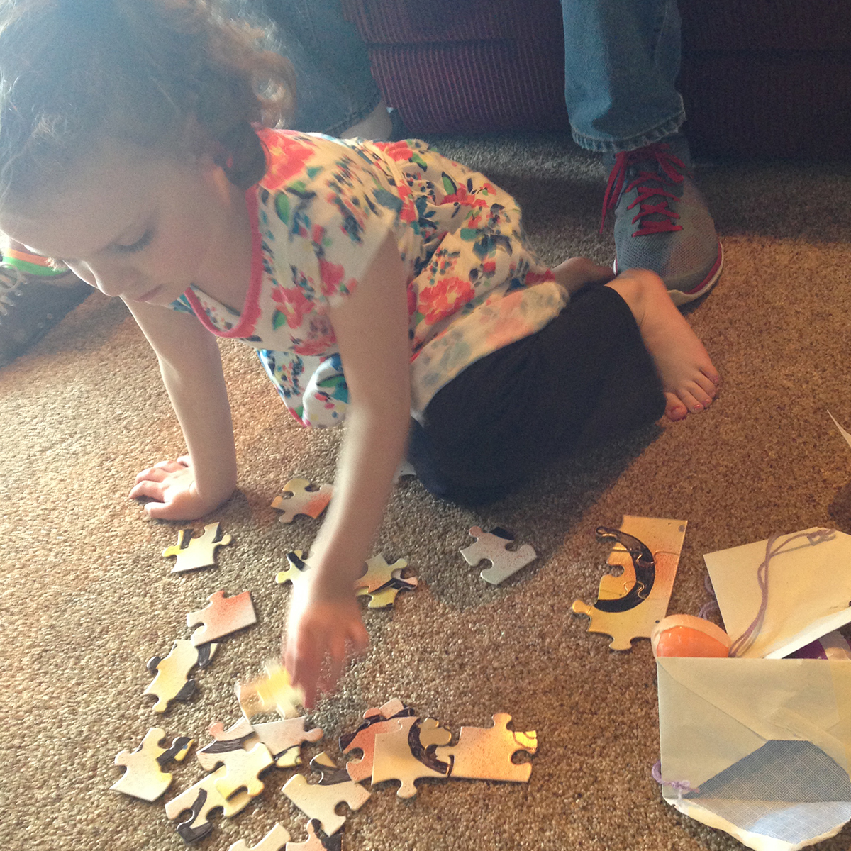 Molly putting her puzzle together