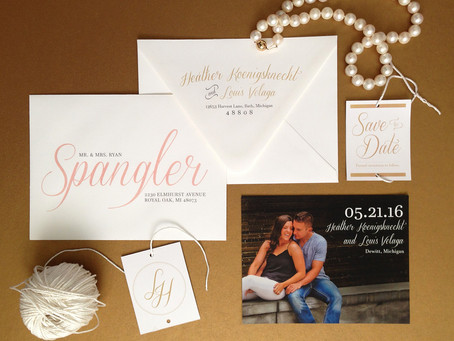Gold + Blush Save the Dates