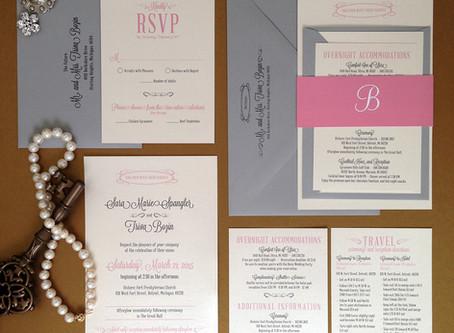 Grey + Blush Wedding Invitation Package
